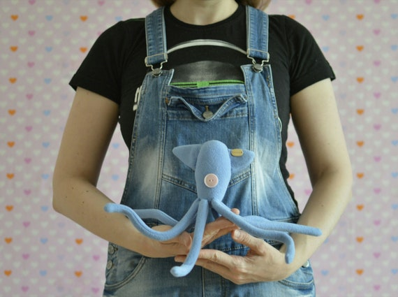 Squid Plush Coraline Octopus Plush Blue Squid Plush Etsy
