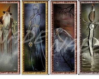 """Set of 4 bookmarks illustration """"artist NADE"""". Fantasy"""
