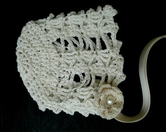 Preemie Baby Bonnet, Crocheted Bonnet, Cotton Baby Bonnet, Christening Bonnet, Baby Shower Gift. Baptism Bonnet, Hand Crocheted Irish Roses