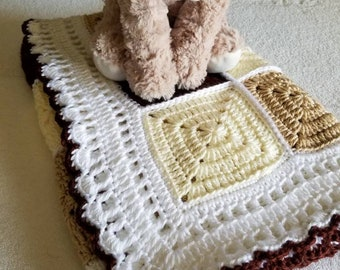 Crochet Gender Neutral Brown Baby Blanket, Lap Blanket
