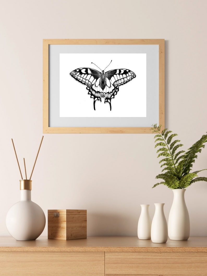 ff5550c06 Butterfly Illustration Wall Art Print A4 nature poster | Etsy