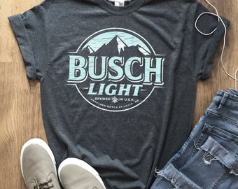 Busch Light Beer T-Shirt Unisex Tee Shirt Worn Label Pattern 23 Colors and  More sizes New f379b1dabe8f
