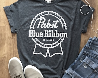 bdb7eff8 Pabst Blue Ribbon Beer t-Shirt Unisex American lager beer Tee Shirt w/  Light and Dark logo Graphic Color Label Pattern 18 Colors More sizes