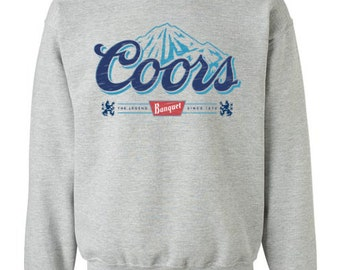 bb98fa462cf34 Coors Light Beer Crewneck Sweatshirt Unisex Sweat Shirt with Coors Mountain  logo Color Label Pattern 9 Colors and More sizes New
