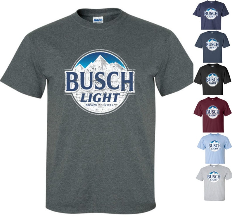 Busch Light Beer T-Shirt Unisex Tee Shirt Worn Label Pattern  e75a549555ec