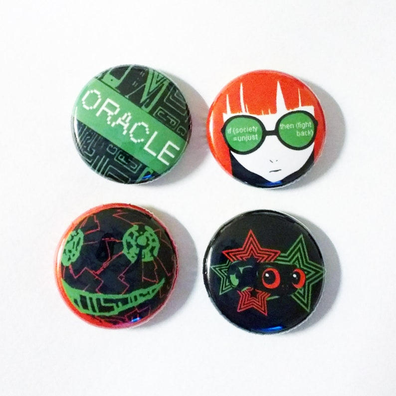 Persona 5 Christmas Gifts.Persona 5 Futaba Sakura Oracle Set Of 4 P5 P5a P5dsn Dancing Aesthetic Badge Sets Pin Button Gift Anime Jrpg
