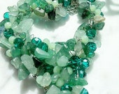 Heart chain with green semi-precious stones