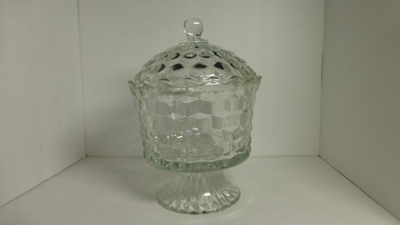 Vintage Clear Glass Footed Pedestal, Clear Glass Pedestal Candy Dish With Lid