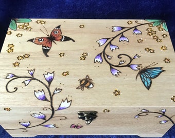 Personalised wooden Wildflower Jewellery Box with removable tray, Large keepsake box with pyrography floral design, Butterfly box