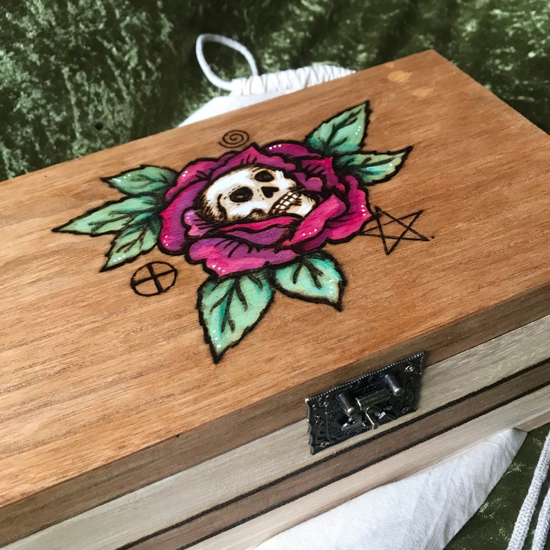 pagan wiccan gothic tattoo box large wooden Crystal Box Personalised Rose and Skull Jewellery Box with removable tray