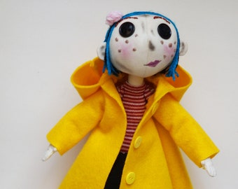 Coraline, Coraline gifts, Coraline doll, Coraline toy, rag doll,  Coraline Jones, Zombies, fabric doll, textile doll, handmade doll