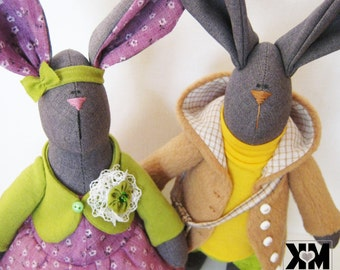 tilda rabbit doll interior, Bunny doll, rabbit out of the interior fabric, fabric rabbits, Valentine's Day, Collection rabbits Tilda doll