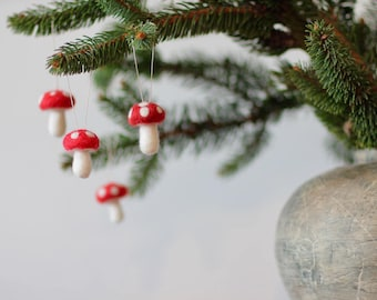 Needle felted mushrooms, Christmas Ornament