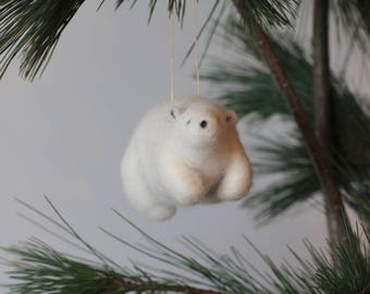 White Ice bear, Needle felted animals, cute soft toy, gift
