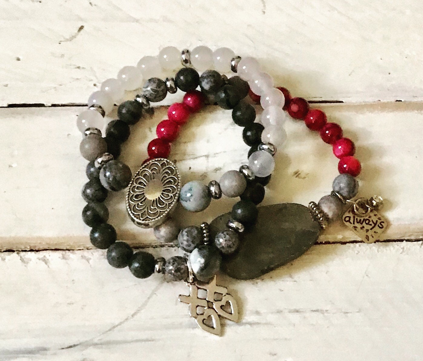 9314b6d9eecfa Gray and pink beaded bracelet set of three-Pyrite stone bracelet-Love charm  bracelet set-Bracelet stacks-Beaded bracelets-Inspirational
