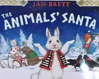 The Animals' Santa by Jan Brett - First edition children's books, Kids Book - Marikka Tamura, Christmas Book, Winter, Forest Animals