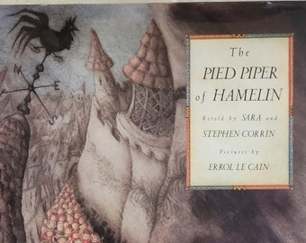 The Pied Piper of Hamelin by Sara and Stephen Corrin - Errol Le Cain - First Edition - Child Book, Vintage Book, Folk Tale, 1980s