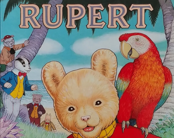 1987 Rupert Daily Express Annual - First Edition Children's Books - Vintage Book, Text Comics, Rupert Bear, John Harrold, 1980s