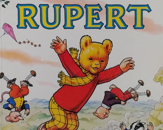 1982 Rupert Daily Express Annual - First Edition Children's Books - Vintage Book, Rupert Bear, Text Comics, John Harrold, 1980s