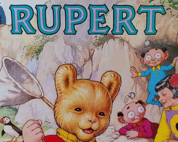 1986 Rupert Daily Express Annual - First Edition Children's Books - Vintage Book, Text Comics, Rupert Bear, John Harrold, 1980s