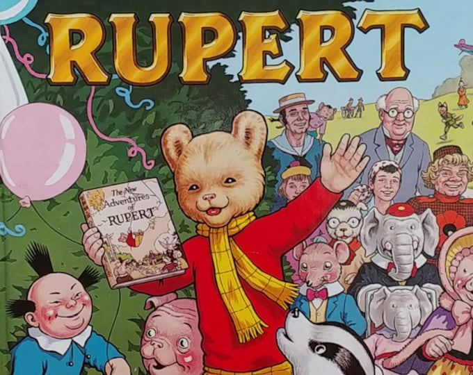 1985 Rupert Bear 50th Anniversary Daily Express Annual - First Edition Children's Books - Vintage Child Book, Text Comics, John Harrold,