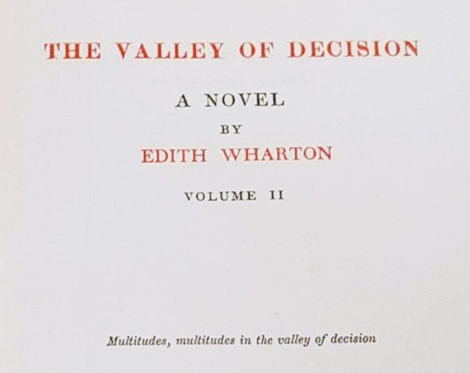 The Valley of Decision by Edith Wharton - First US Edition 1902 - Antique Book, 1900s