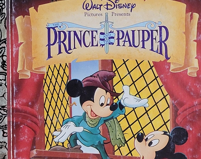Mickey Mouse in Prince and the Pauper - 1990 Little Golden Book - Vintage Child Book, Walt Disney Pictures