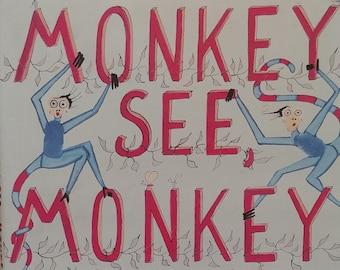 Monkey See, Monkey Draw by Alex Beard - First edition children's books, kids book - Vintage Book, Art Book, Africa, Mbuno Hills