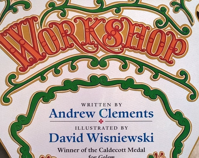 Workshop by Andrew Clements,  David Wisniewski - First Edition Children's Books - Vintage Child Book, Carpentry, Carousel