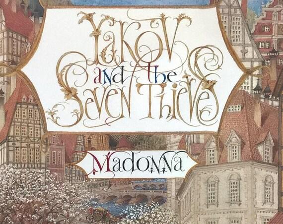 Yakov and The Seven Thieves by Madonna, Gennady Spirin - First Edition Children's Books, Kids Books, Jewish Folktales, Ukraine, Heaven