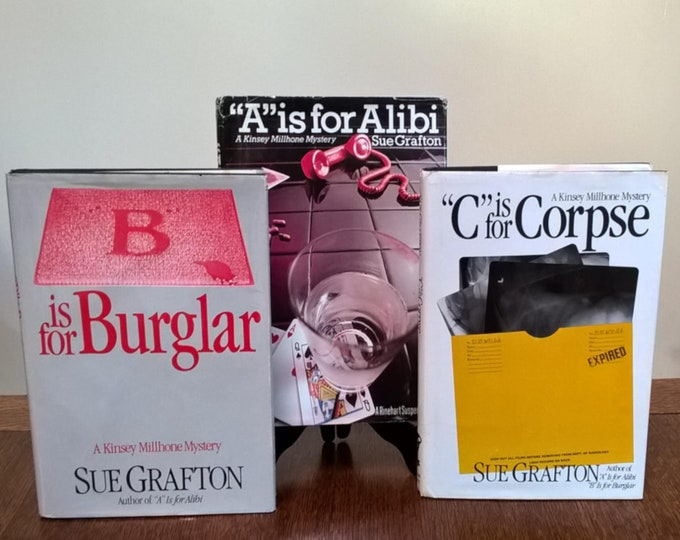 Set of First 3 Sue Grafton Novels - A is for Alibi, B is for Burglar, C is for Corpse - Kinsey Millhone, Mystery Novels, Vintage Book, 1980s