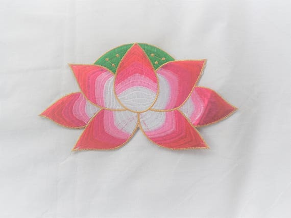large pink green lotus blossom iron on embroidered patch free etsy