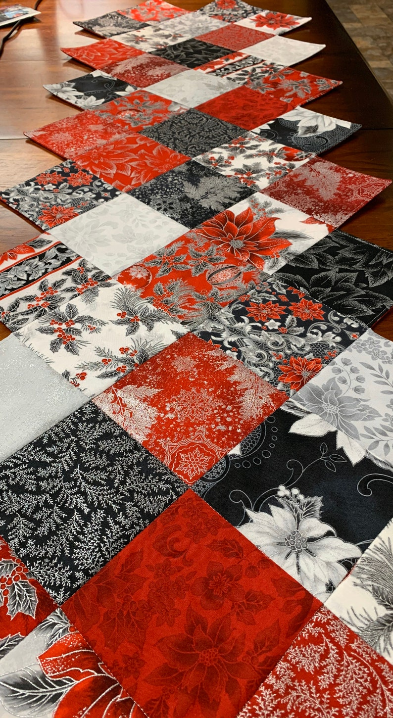 Christmas Table Runner Quilted Zig Zag Pattern Silver Red Black Holiday Flourish