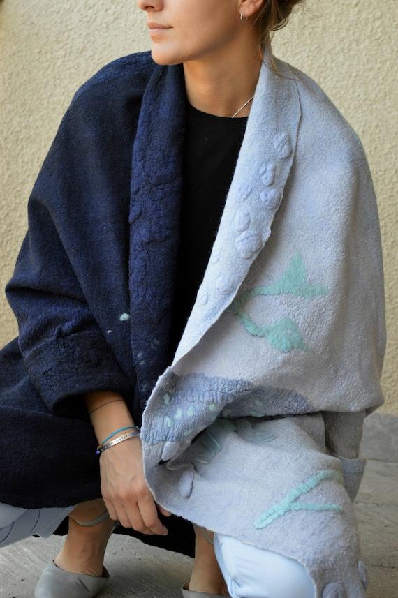 Women clothing fashion Clothing coat Wearable Nuno Eco coat Felted art made Wool Blue Coat Jacket Hand Black felted Designer farfqxg