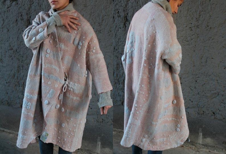 FemmeFeutréeVesteFait DesignerÉco ModeEn Laine Manteau VestimentaireNuno MainVêtementsBleuRoseL'art jq5A34LR