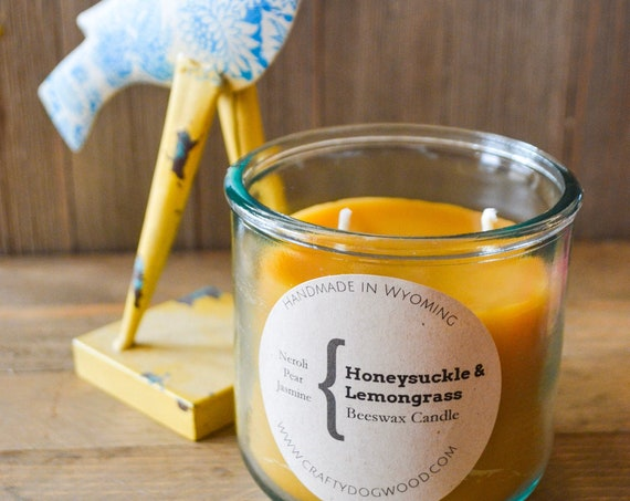 Honeysuckle Lemongrass Natural Beeswax Candle