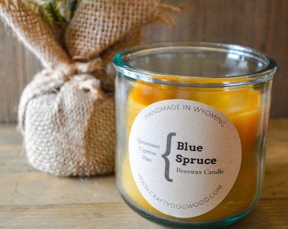 Blue Spruce Natural Beeswax Candle