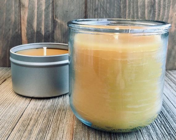 Spicy Peach Natural Beeswax Candle