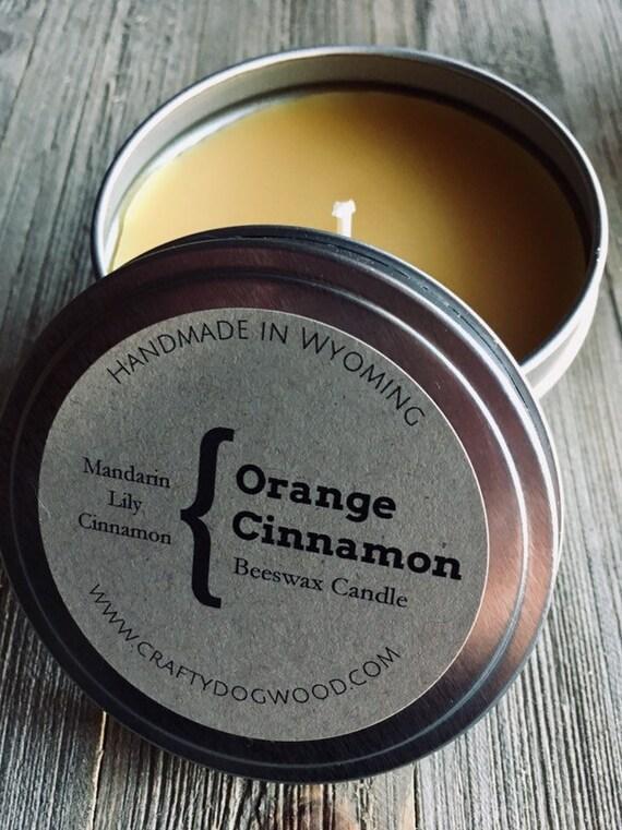Orange Cinnamon Natural Beeswax Candle