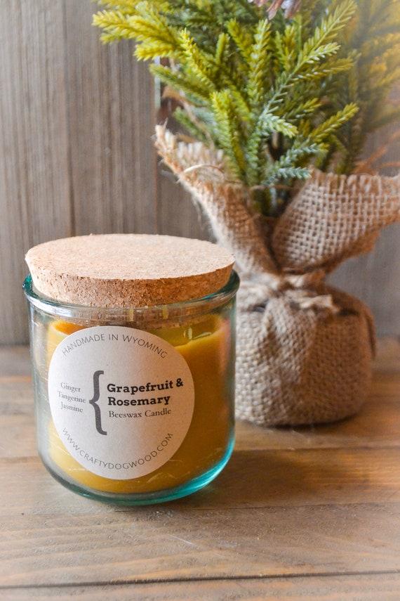 Grapefruit & Rosemary Natural Beeswax Candle
