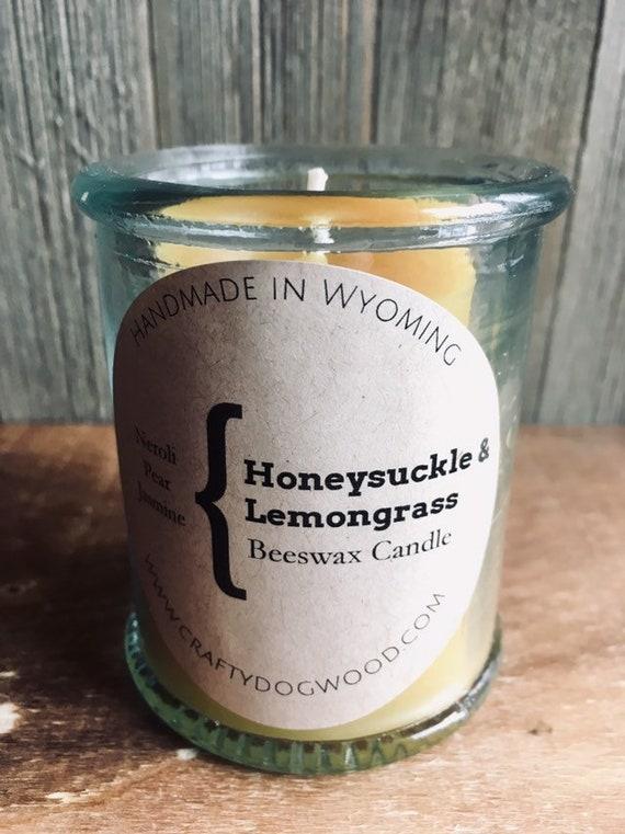 Honeysuckle Lemongrass Natural Beeswax Candle