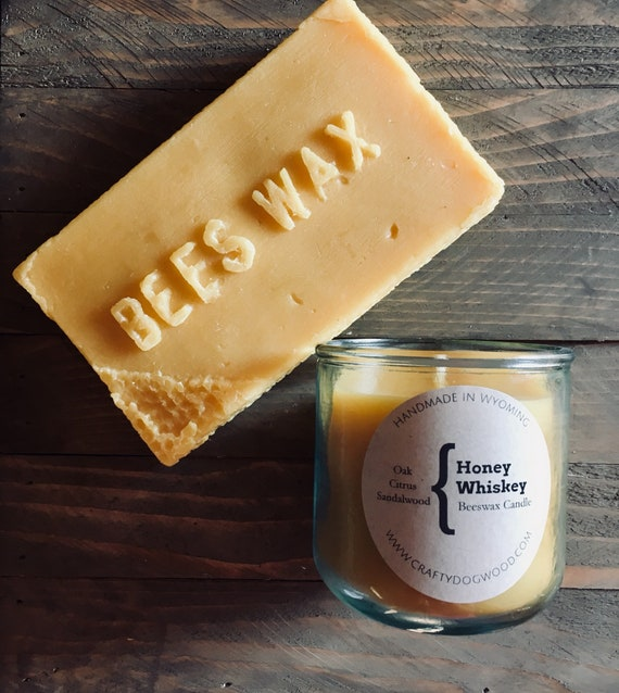 Honey Whiskey Natural Beeswax Candle
