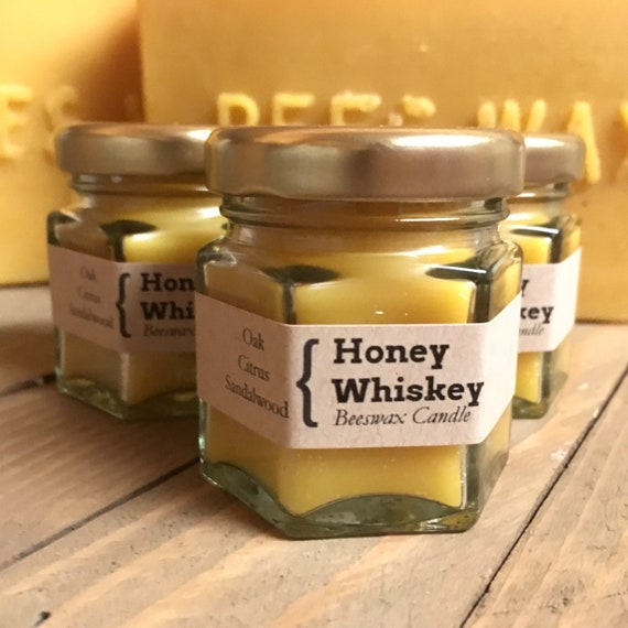 Miniature Honey Whiskey Natural Beeswax Candle