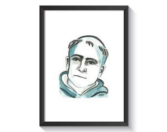 Saint Thomas Aquinas Original Watercolor Print