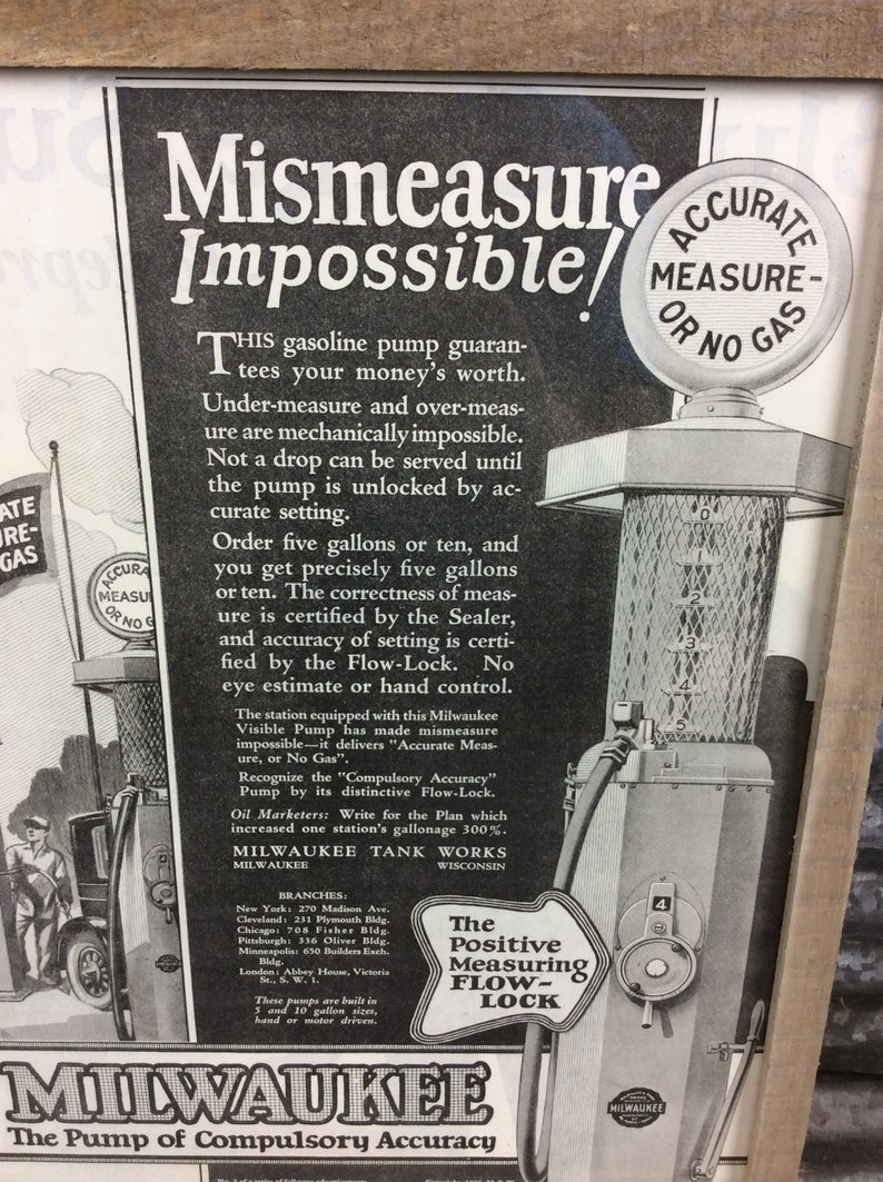 1920's MILWAUKEE Visible Gas Pump Wood Framed Print Ad - Gas & Oil Sign