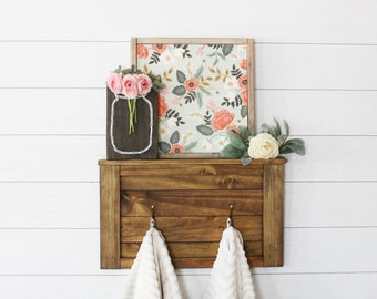 Farmhouse Shelf || Entryway Decor || Rustic Shelf || Wood Shelf and Coat Rack || Coat Rack || Towel Rack || Timber Farms Co. || Trrendy