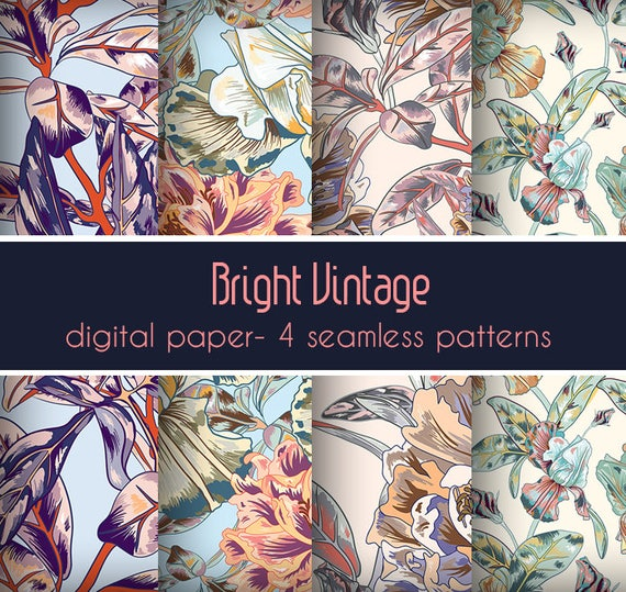 Vintage printable flower design vintage diy wrapping paper etsy image 0 mightylinksfo