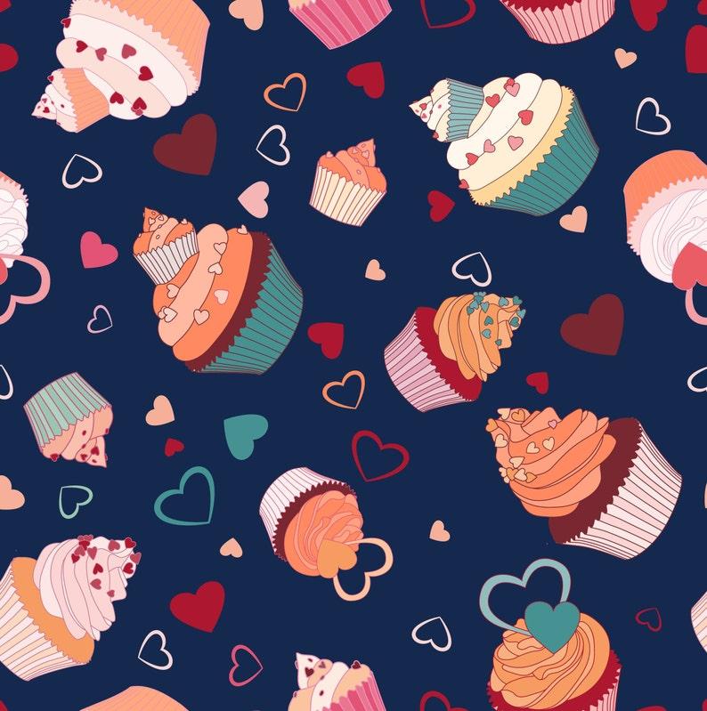 Cupcake Illustration Vintage Decor Dog Seamless Seamless Pattern Wrapping Paper Sweet Design Cupcake Wallpaper Cupcake Pattern