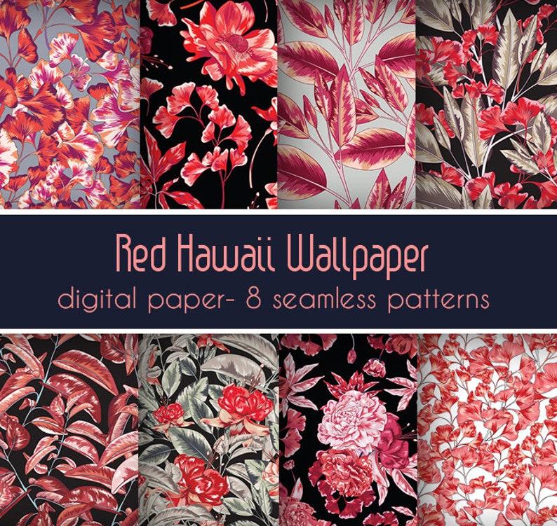 Floral Paper Giftwrap Set Garden Flowers Scrapbook Paper Vintage Hawaii Seamless Botanical Botanical Pattern Digital Wrapping
