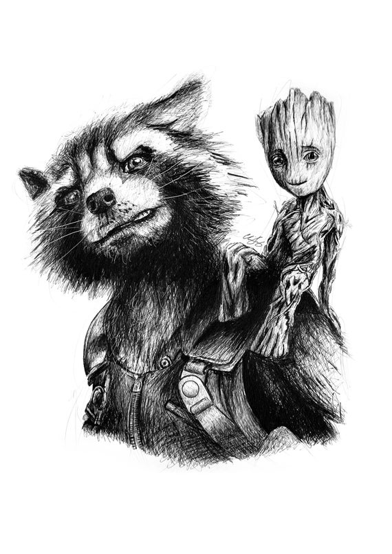 Rocket And Baby Groot A4 Art Print Marvel Guardians Of The Etsy